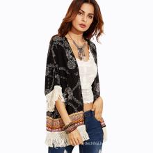 Summer printing beachwear clothing for women black color polyester tassel beach pareo