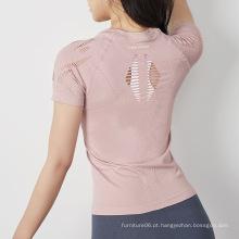 ioga escavar camiseta para mulheres