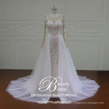 Cap sleeves sheer long puff skirt latest wedding gown designs