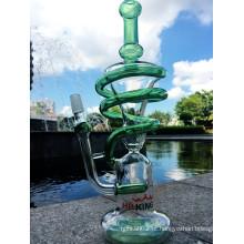 Atacado espiral reciclar tubo de água de vidro Handblown Tubo de água de vidro
