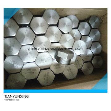 Enchufe de cabeza hexagonal roscada NPT de acero al carbono forjado A105n