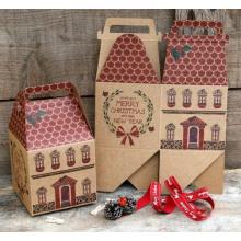 Caja de regalo de la Casa-Forma de la Navidad / caja de papel Kraft cortada