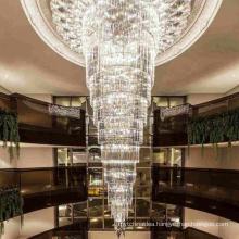 Custom made luxury hotel large lobby modern ceiling pendants crystal lighting chandelier
