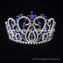 Venta al por mayor cristal azul tiara pelo peine de la corona