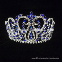 Оптовые продажи голубой кристалл тиара волос гребень