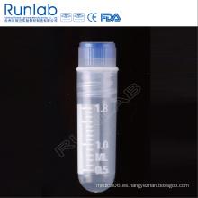 Vial criogénica de fondo redondo de rosca interna de 2 ml con sello de silicona