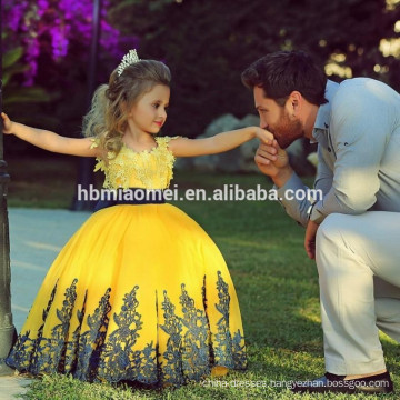 Sleeveless yellow color wedding dress 2017 for baby girl