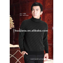 Homens de luxo misturados suéter de gola de caxemira
