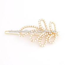 Horquilla de la hoja de la perla del chapado en oro de las mujeres y de las muchachas elegantes populares calientes de la nueva llegada