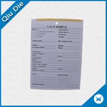 Etiqueta de retención de papel de impresión para muestras de prendas de vestir PP