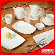venta por mayor 20pcs blanco cerámica cuadrado hotel porcelana personalizadas platos para el restaurante