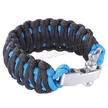 Bracelet de survie ajustable paracord manille filet à vis en acier inoxydable
