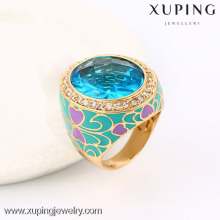 13718 Xuping newest style crystal bishop rings with 18k gold