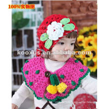 Ручные шапки Gilr's Вязаные шапки Детские шапки Детские цветочные шляпы BABY Cotton Crochet Hats