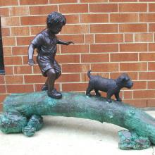 decoração do jardim ao ar livre metal vida tamanho bronze menino e cão estátua