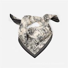 New Printed Fashion Lady Headband Bag Handle Kerchief Twill Satin Silk Feeling Square Bandana Neck Scarf