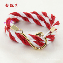 Wholesale Fashion Stainless Steel Gold Fish Hook Accessories with Sailor Anchor Jewelry Nautical Anchor Rope Bracelet Men