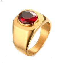 Новый Дизайн Из Нержавеющей Стали Позолоченные Красный CZ Камень Кольца Ювелирные Изделия