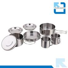 8 pedazos baratos de acero inoxidable de camping de cocina de viaje de cocina conjunto de camping pote