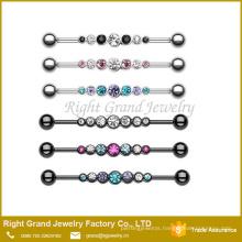 Rhinestone Stainless Steel Industrial Barbell Jewelry