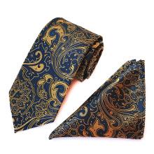Die Krawatten und die Taschen-Quadrate der gelben Paisley-Polyester-Männer