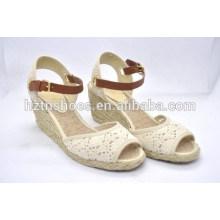 Designer calçado sandálias respirável euramerican cunha sapatos laço tecido peixe boca cânhamo sapatos grandes jardas sapatos