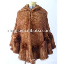 China supplier natural mink fur poncho