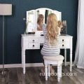 Bedroom tri folding Makeup station drawers vanity table with mirror