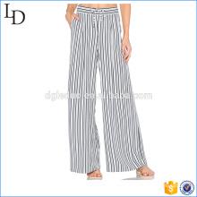 Элегантные полосы шифон случайные свободные широкие брюки ноги для женщин