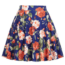 Kate Kasin Girls High Stretchy Mini Skirt A-Line Floral Print Flared Skirt KK000294-1