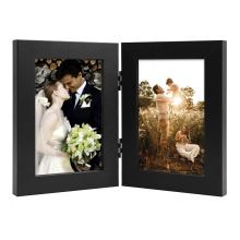 wholesale custom 4x6 black Hinged Double Wood Front Glass Photo Frame for home decoration