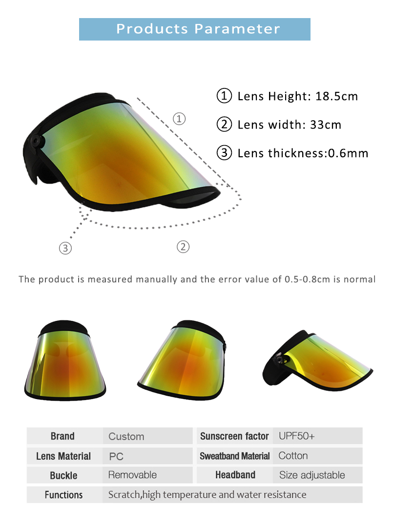 Fashion Sport Visor Face Shield Uv Protection Wholesale Supplier Factory