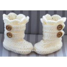 Bébé baptême à main en crochet tricot blanc Bottes à nouveau-né Chaussures Vente en gros
