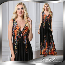 Mode gedruckt Premium Qualität Polyester lange ärmellose Frau Casual sexy Kleid