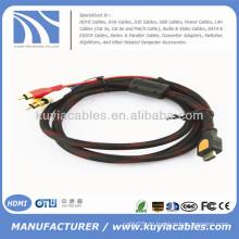 Hochwertiges AVI zum HDMI Kabel Nylon Netz 1.5M