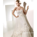 A-line Sweetheart Chapel Flowers Ruffled Wedding Dresshahah
