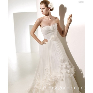 A-line Sweetheart Chapel Flowers Ruffled Wedding Dress