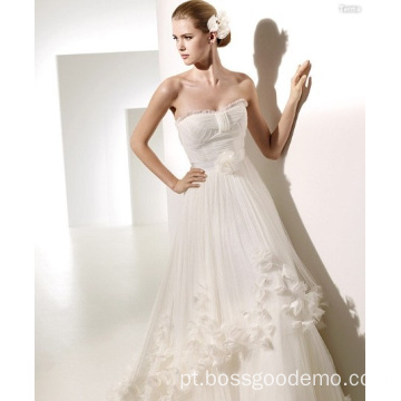 A-line Sweetheart Chapel Flores Ruffled Wedding Dresshahah