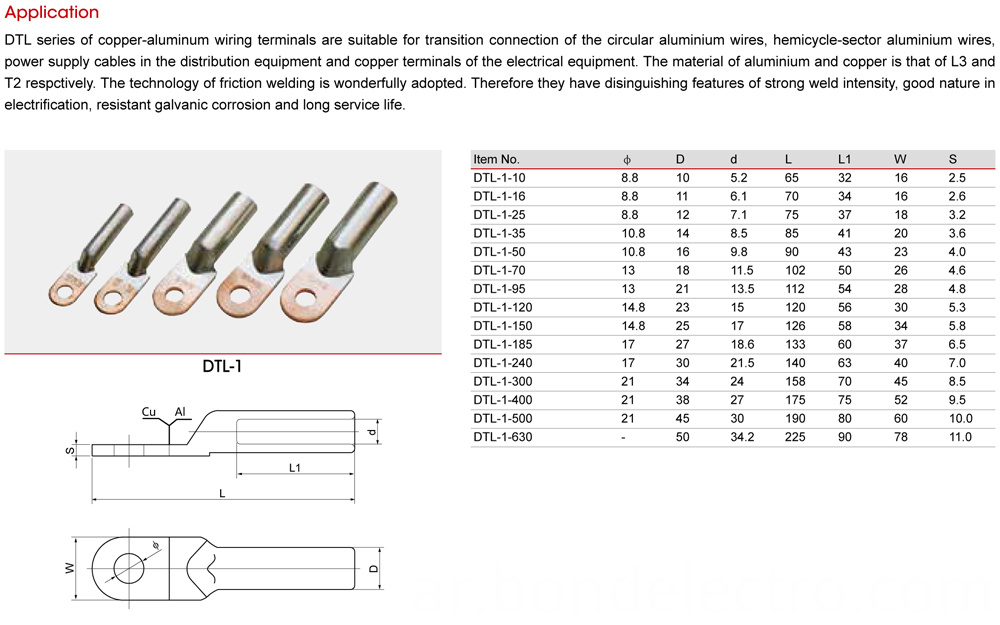 DTL-1 Aluminium Copper Bimetal Connector Parameter