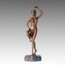 Nude Statue Bikini Lady Thalia Bronze Sculpture, Milo TPE-249