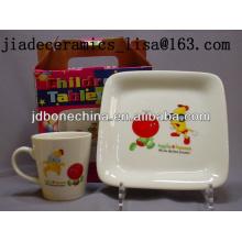 Prato quadrado e canecas do prato de fruta do design dos desenhos animados da venda quente eco-friendly das crianças