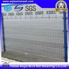 PVC recubierto de malla de alambre de malla de seguridad cercada con poste