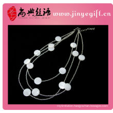 Newly White Shell Beads Three Strand Natural Stone Necklace