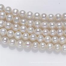 10mm AA Semi près de ronde Grande taille Real Fresh Water Perles de perles d'eau douce String Pearl Strand