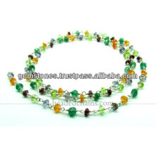 925 Sterling Silver Beaded Chains, Gemstone Beaded Chains