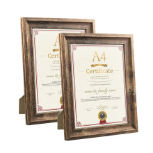 New Design Creative Custom A4 Distressed Wood Document Diploma Certificate Award Picture Photo Frame With Glass