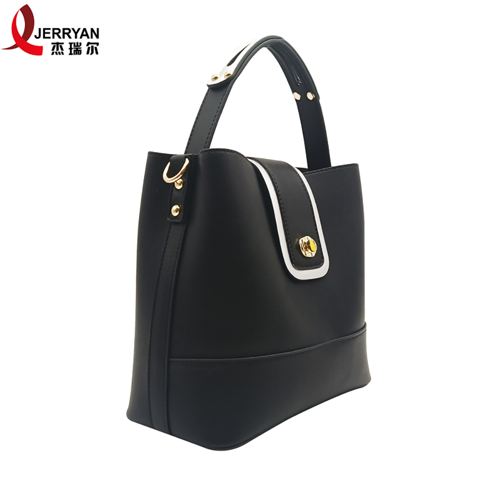 black bucket bag