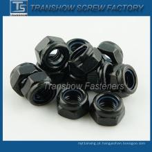 Porca de bloqueio revestida de nylon preto (DIN985)
