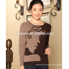 100% cashmere knitting women's fashion sweater