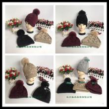 Style classique en gros Unisex en laine en tricot Beanie Hat avec Raccoon Fur POM Poms